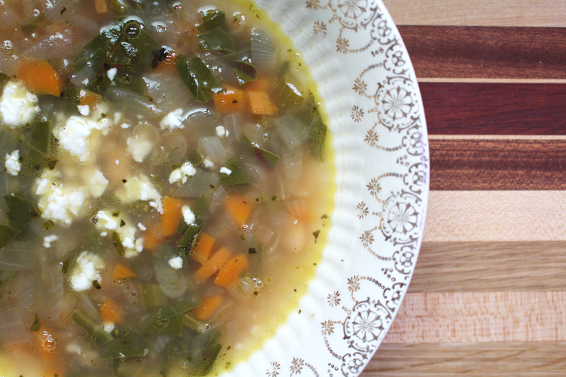 Cannellini and Beet Green Soup with Feta
