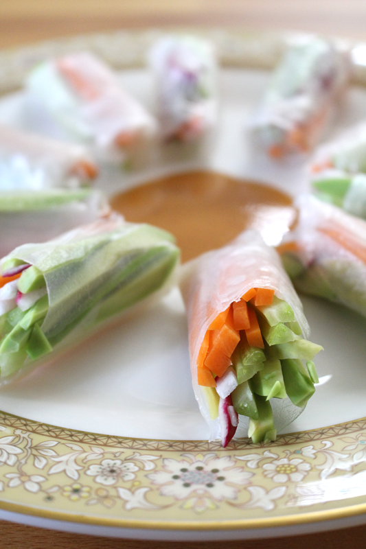 Spring Rolls with Spicy Honey Mustard Dipping Sauce