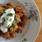 Lentils on Crispy Sweet Potatoes