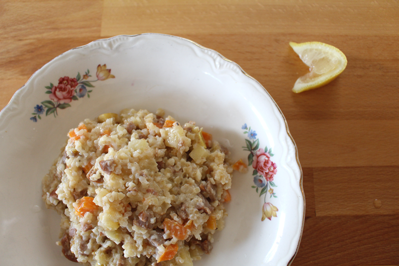 Bulgur Wheat with Sausage and Apples