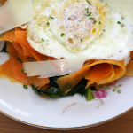 Sweet Potato Pasta with Fried Eggs