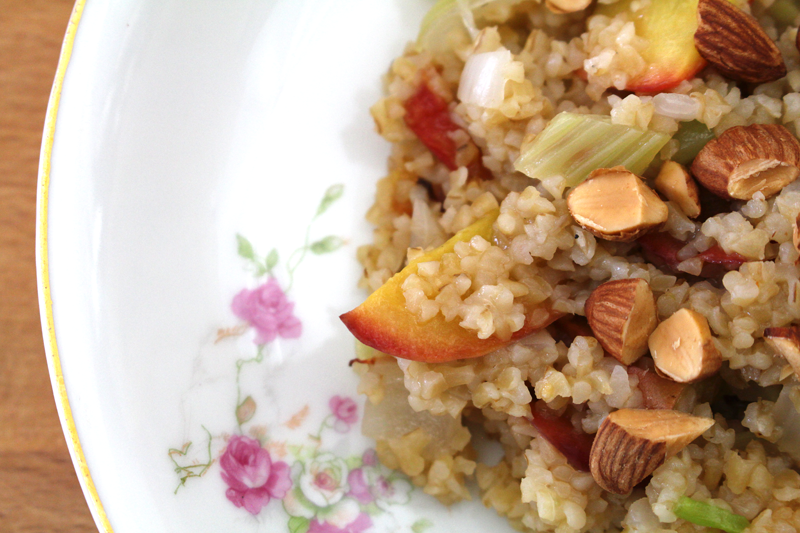 Roasted Stone Fruit with Bulgur and Fennel